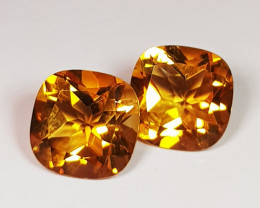 Parcel Pair of 4.10 ct Collector's Gem Cushion Cut Natural Citrine