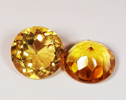 Parcel Pair of 3.50 ct Collective Gem Round Cut Natural Citrine