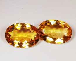 Parcel Pair of 3.52 ct Top Quality Gem Oval Cut Natural Citrine