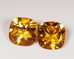 Parcel Pair of 3.71 ct Top Luster Gem Cushion Cut Natural Citrine