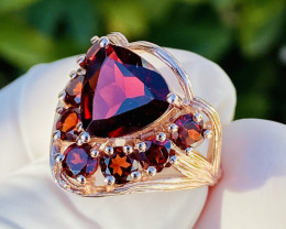 IF MALAYA GARNET!!! RING , SILVER ROSE GOLD PLATED - FROM COLLECTOR- UNUSED