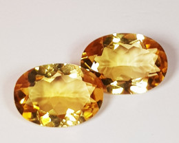 Parcel Pair of 3.59 ct Top Luster Gem Oval Cut Natural Citrine