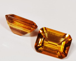 Parcel Pair of 2.81 ct Top Luster Gem Octagon Cut Natural Citrine