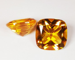 Parcel Pair of 3.60 ct Top Quality Gem Cushion Cut Natural Citrine