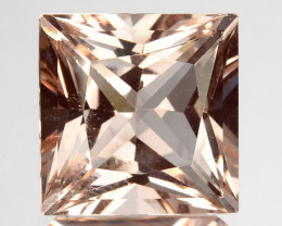 5.49 Cts Perfect Ring Size Natural Peach Pink Morganite 10mm Square Princes