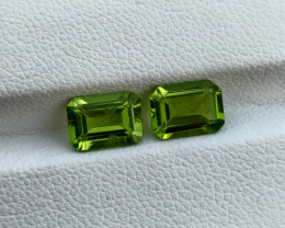 3.19 Cts Natural Parrot Green Peridot Octagon Cut 2Pcs Pakistan