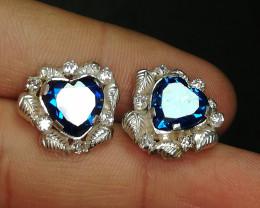 Wow Very Beautiful Heart Shape cz Zircon Earrings in Silver