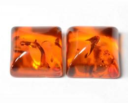 Baltic Amber 1.63 Cts 2 Pcs Golden Orange Color Natural