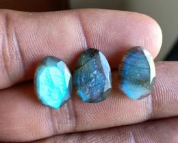 NATURAL LABRADORITE 3 Pcs Rose Cut Gemstones VA4550