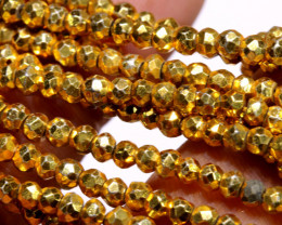 53.00 - CTS FACETED PYRITE  BEADS STRAND NP-2830