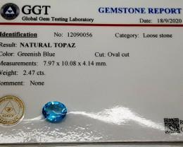 2.47Crt Certified Natural Topaz Natural Gemstones JI02