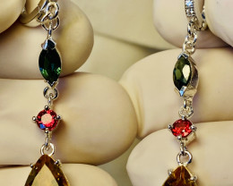 DIOPSIDE, RUBY ,CITRIN, CUBIC ZIRCONIA- EARRINGS- ,GOLD PLATED  SILVER    U