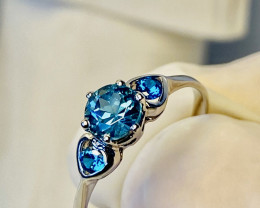 APATITE RING WITH  , SILVER GOLD PLATED- FROM COLLECTOR- UNUSED!