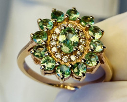 TSAVORITE RING WITH  , ZIRKON SILVER GOLD PLATED - FROM COLLECTOR- UNUSED!