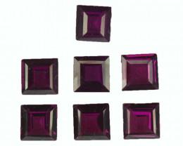 4.54 Cts Natural  Purple Rhodolite Garnet 5mm Square 7Pcs Mozambique