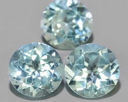6.90 Cts Excellent Swiss Blue Topaz Wonderful round parcel 3 pcs