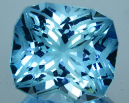~CUSTOM CUT~ 15.47Cts Natural Blue Topaz Fancy Cushion  Cut Brazil