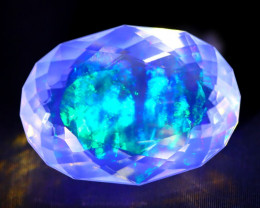 7.93Ct Bright Neon Rainbow Flash Color Play Faceted Welo Opal C1003