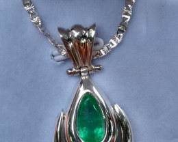 Untreated Colombian emerald necklace from Muzo
