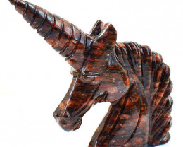 Genuine 1118.00 Cts Garnet Hand Carved Unicorn Head