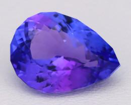 3.51Ct Natural Vivid Blue Tanzanite IF Flawless Pear Master Cut B1210