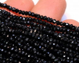 27 CTS BLACK SPINEL DRILLED BEAD STRAND NP-2856