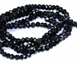 27 CTS BLACK SPINEL DRILLED BEAD STRAND NP-2873