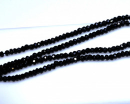 27 CTS BLACK SPINEL DRILLED BEAD STRAND NP-2874
