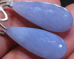 27 CTS CHALCEDONY  DROPS-PAIR  DRILLED NP-2959