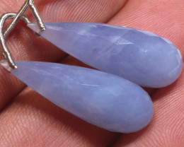 24.5 CTS CHALCEDONY  DROPS-PAIR  DRILLED NP-2960