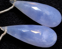 21.8 CTS CHALCEDONY  DROPS-PAIR  DRILLED NP-2966