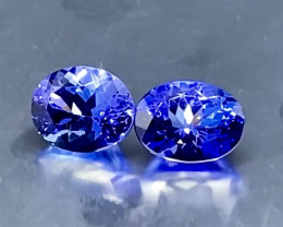 5.24ct IF/VVS Vivid Violet-Blue Tanzanite AAA  Color - pair/2pcs