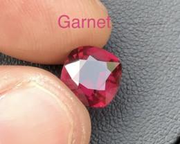 Top Grade 2.60 ct Deep Color Reddish Pink Garnet Ring Size