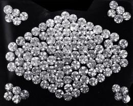 59.42 Cts Natural Sparkling White Zircon 5mm Round Cut 83Pcs Tanzania