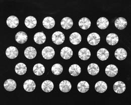26.27 Cts Natural Sparkling White Zircon 4.50mm Round Cut 53pcs Tanzania