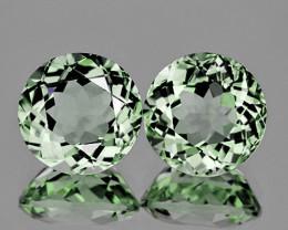 10.00 mm Round 2 pcs 5.78cts Light Green Prasiolite [VVS}