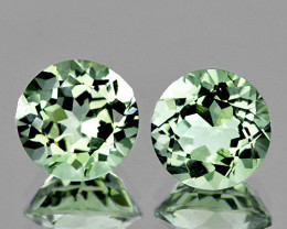 11.00 mm Round 2 pcs 8.18cts Light Green Prasiolite [VVS]
