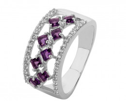Amethyst 925 Sterling silver ring #566