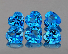 4.00 mm Heart 6 pcs 3.57cts Swiss Blue Topaz [VVS]