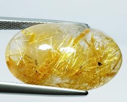19.69 Ct Excellent Gem Oval Cab Natural Golden Rutile Quartz