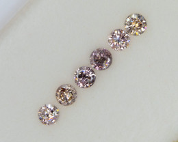 2.1mm Calibrated 0.24 Ct of 6 pcs Natural Pink Diamonds Rounds Selection