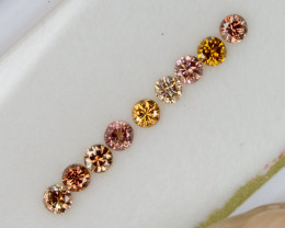 2.1mm Calibrated 0.39 Ct of 9 pcs Natural Multicolor Diamonds Rounds Select