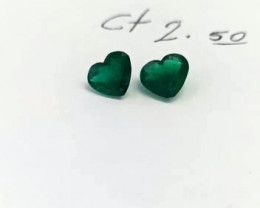 2.80 Colombian Emerald Hearts Pair