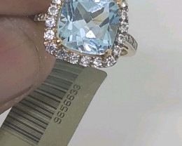 $1350 Nat. 3.73ct Blue Topaz Ring 10K YG 2.87gr
