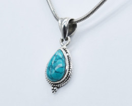 TURQUOISE  PENDANT 925 STERLING SILVER NATURAL GEMSTONE JP291