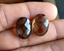 Smoky Quartz Checkered Cut Pair 100% Natural Gemstones VA4834