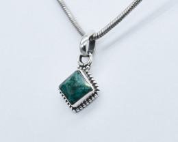 EMERALD PENDANT 925 STERLING SILVER NATURAL GEMSTONE JP295