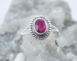RUBY RING 925 STERLING SILVER NATURAL GEMSTONE JR1124