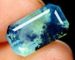 Paraiba Opal 2.33Ct Octagon Cut Natural Seaform Dendrite Blue Opal A1501