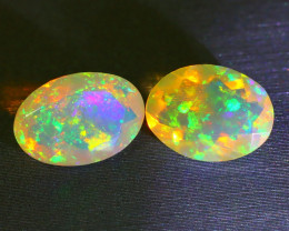 2.55Ct 2Pcs Bright Neon Rainbow Flash Color Faceted Welo Opal A1512